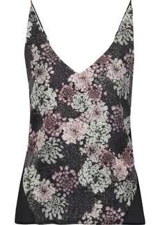 J Brand Woman Lucy Floral-print Silk-twill And Chiffon Camisole Black