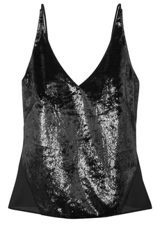 J Brand Woman Lucy Metallic Velvet And Chiffon Camisole Black