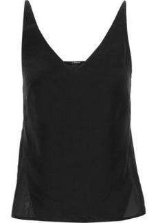 J Brand Woman Lucy Washed-silk And Chiffon Camisole Black