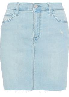 J Brand Woman Lyla Distressed Denim Mini Skirt Light Denim