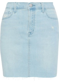 J Brand Woman Lyla Distressed Denim Mini Skirt Light Denim
