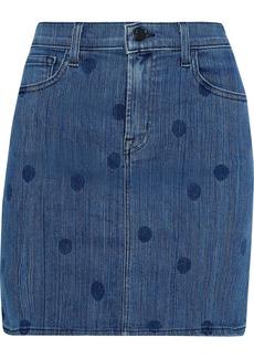 J Brand Woman Lyla Polka-dot Denim Mini Skirt Mid Denim
