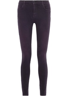 J Brand Woman Maria Distressed High-rise Skinny Jeans Grape