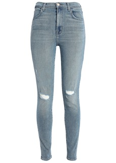 J Brand Woman Maria Distressed High-rise Skinny Jeans Light Denim