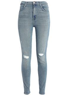 J Brand Woman Maria Distressed High-rise Skinny Jeans Light Denim