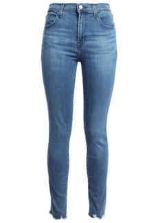 J Brand Woman Maria Distressed High-rise Skinny Jeans Mid Denim