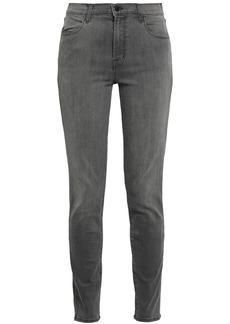 J Brand Woman Maria Faded High-rise Skinny Jeans Dark Gray