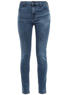 J Brand Woman Maria Faded High-rise Skinny Jeans Mid Denim