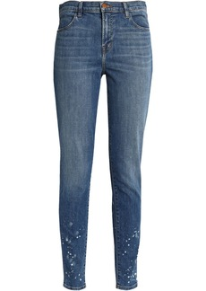 J Brand Woman Maria Faded High-rise Skinny Jeans Mid Denim