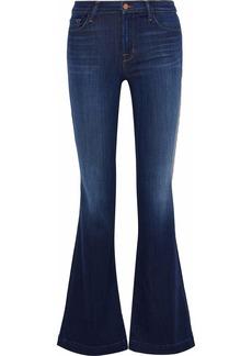 J Brand Woman Maria High-rise Flared Jeans Mid Denim