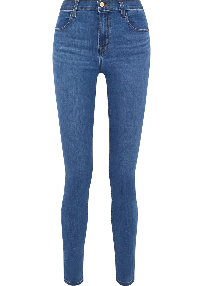 J Brand Woman Maria High-rise Skinny Jeans Mid Denim