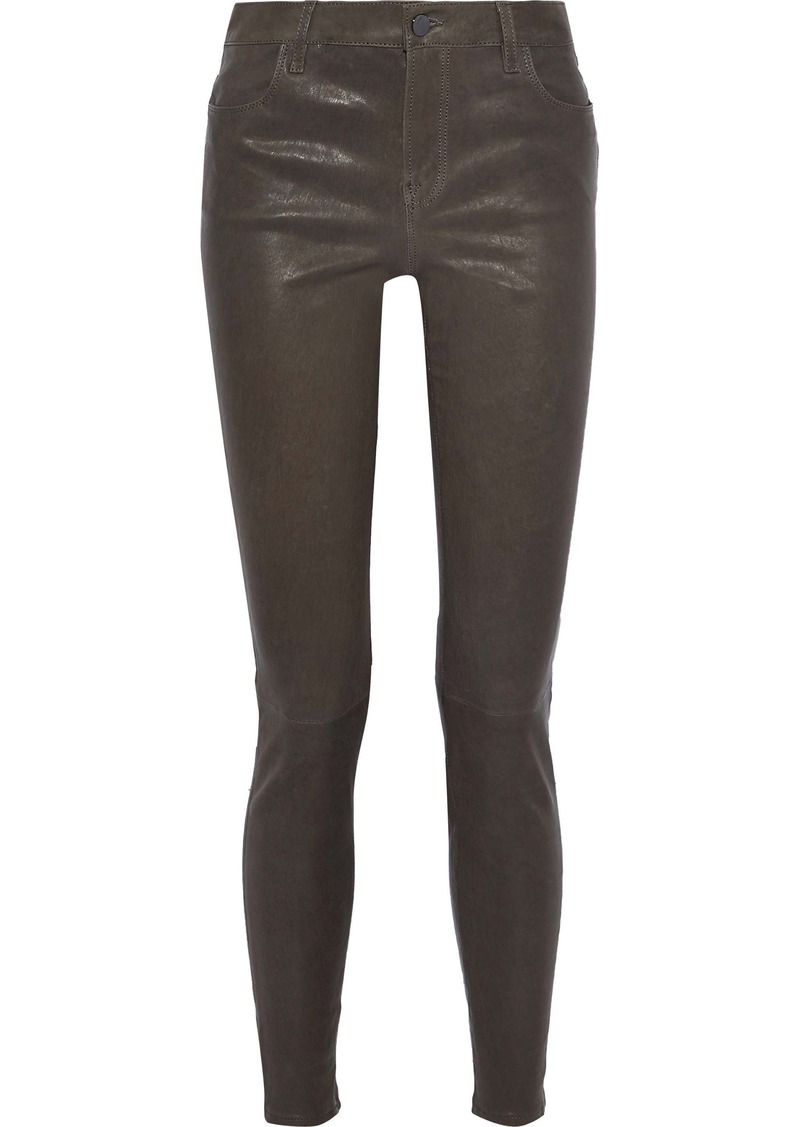 J Brand Woman Maria Leather Skinny Pants Dark Brown