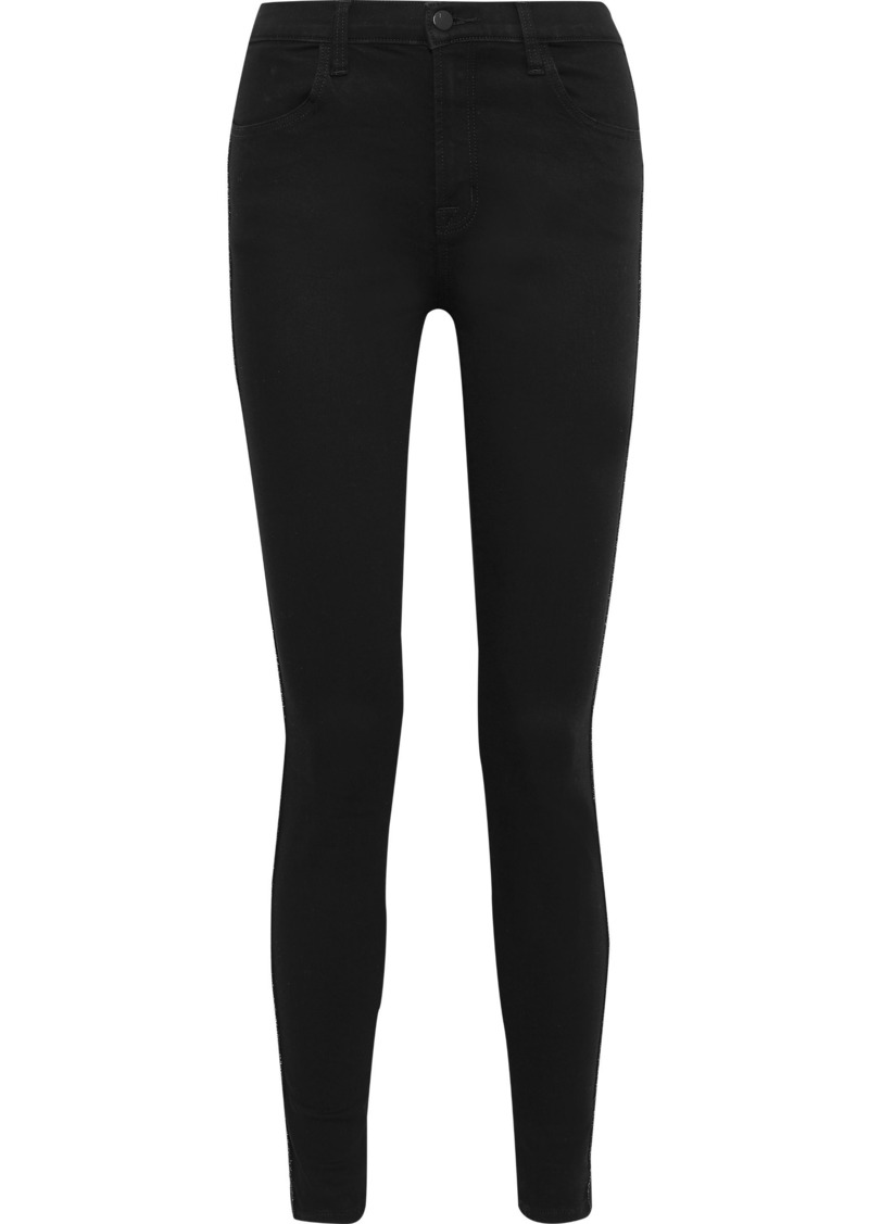 J Brand Woman Maria Metallic-trimmed High-rise Skinny Jeans Black