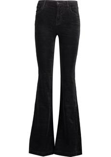 J Brand Woman Maria Mid-rise Cotton-blend Velvet Flared Pants Black
