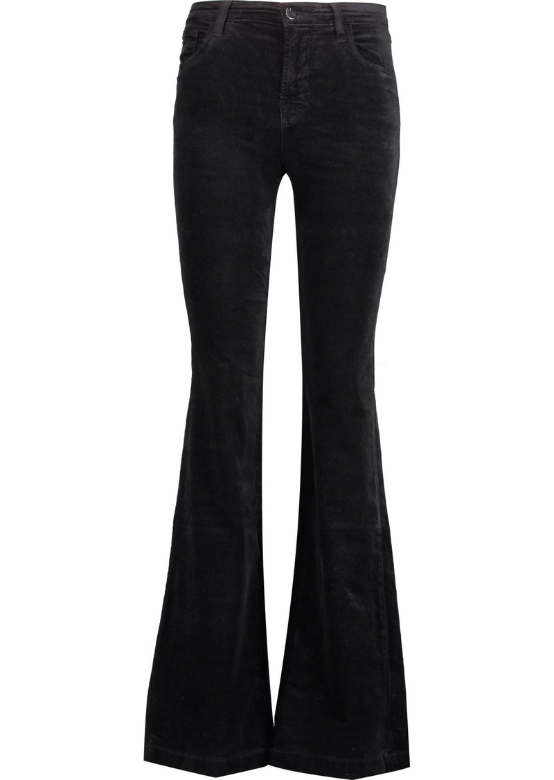J Brand Woman Maria Mid-rise Cotton-blend Velvet Flared Pants Black