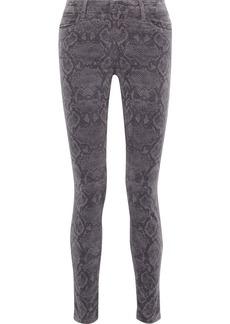J Brand Woman Maria Snake-print Cotton-blend Velvet Skinny Pants Animal Print