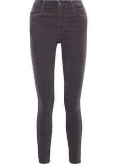 J Brand Woman Maria Cotton-blend Velvet Skinny Pants Dark Gray