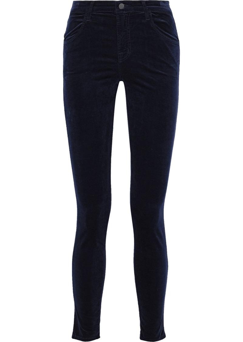 J Brand Woman Maria Snake-print Cotton-blend Velvet Skinny Pants Midnight Blue