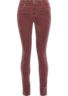 J Brand Woman Maria Snake-print Cotton-blend Velvet Skinny Pants Brown