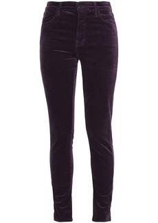 J Brand Woman Velvet Skinny Pants Dark Purple