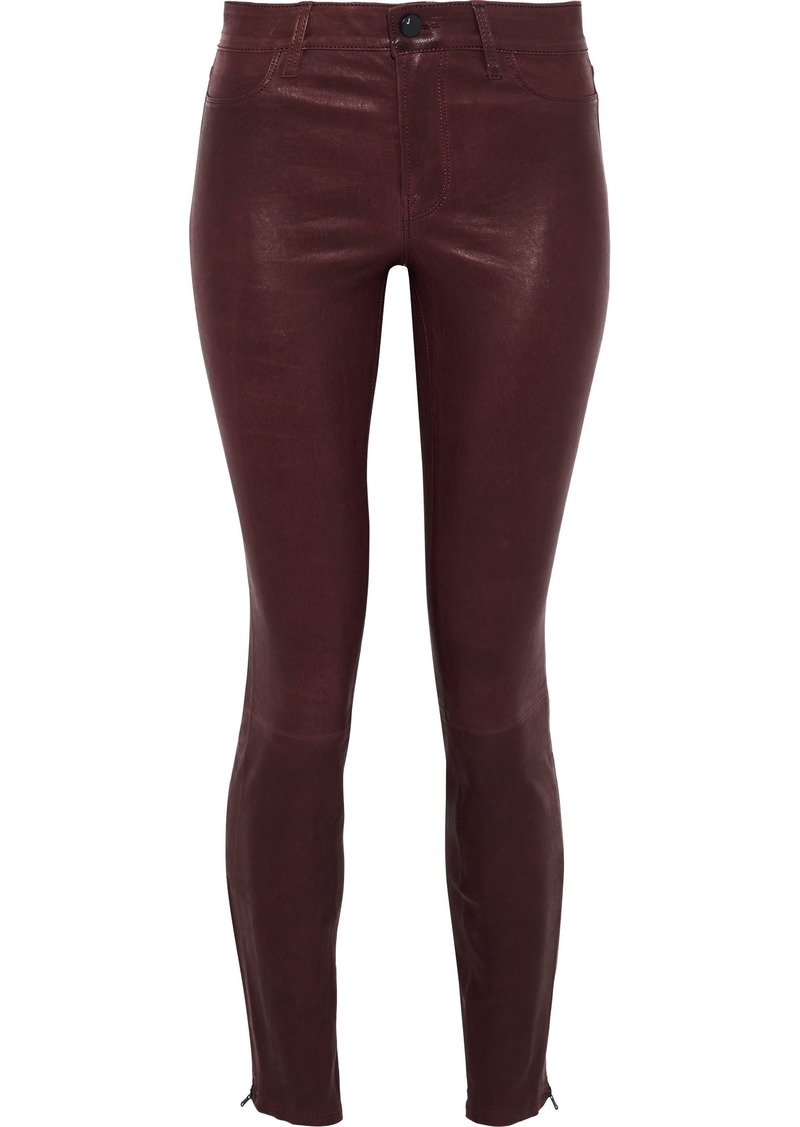 J Brand Woman Maria Stretch-leather Skinny Pants Burgundy