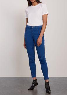 J Brand Woman Maria Striped Mid-rise Skinny Jeans Cobalt Blue