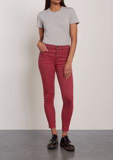 J Brand Woman Maria Striped Mid-rise Skinny Jeans Claret