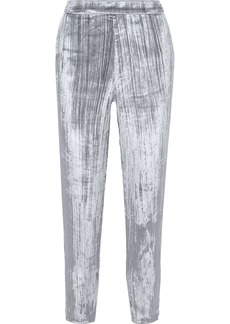 J Brand Woman Marlee Cropped Metallic Crushed-velvet Tapered Pants Silver
