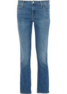 J Brand Woman Maude Frayed Mid-rise Slim-leg Jeans Blue