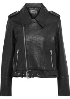J Brand Woman Maysen Leather Biker Jacket Black