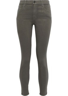 J Brand Woman Cropped Coated High-rise Skinny Jeans Army Green