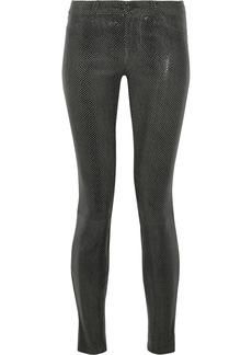 J Brand Woman Metallic Snake-effect Suede Skinny-leg Pants Anthracite