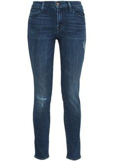 J Brand Woman 811 Distressed Mid-rise Skinny Jeans Dark Denim