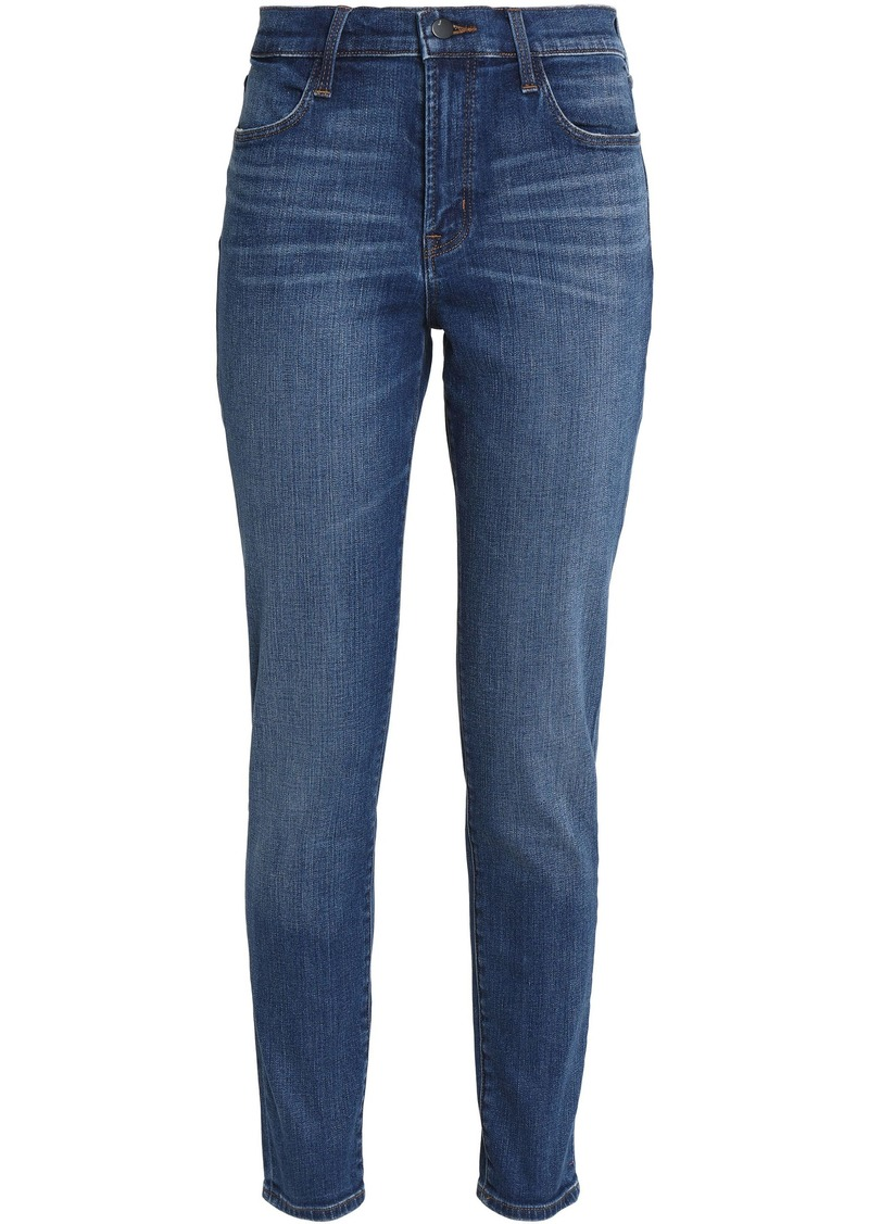J Brand Woman Mystic Distressed Mid-rise Skinny Jeans Mid Denim
