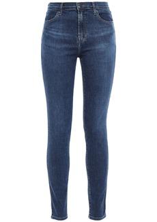 J Brand Woman Moral Faded High-rise Skinny Jeans Dark Denim