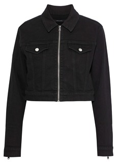 J Brand Woman Moto Cropped Denim Jacket Black