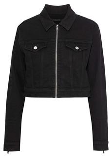 J Brand Woman Moto Cropped Denim Jacket Black