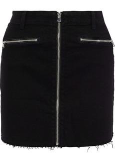 J Brand Woman Moto Zip-detailed Denim Mini Skirt Black