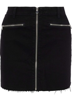 J Brand Woman Moto Zip-detailed Denim Mini Skirt Black