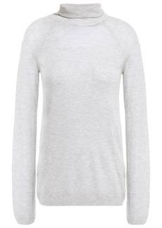 J Brand Woman Paneled Open-knit Turtleneck Top Light Gray