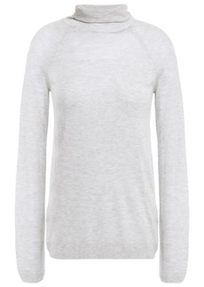 J Brand Woman Paneled Open-knit Turtleneck Top Light Gray