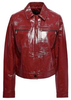 J Brand Woman Patent-leather Jacket Claret