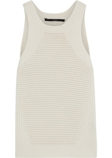 J Brand Woman Ribbed Wool And Cotton-blend Top Off-white