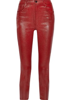 J Brand Woman Ruby Cropped Coated High-rise Slim-leg Jeans Crimson