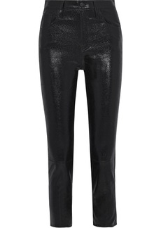 J Brand Woman Ruby Cropped Coated-leather Slim-leg Pants Black
