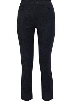 J Brand Woman Ruby Cropped Corded Lace-paneled High-rise Slim-leg Jeans Black