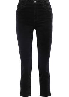 J Brand Woman Ruby Cropped Cotton-blend Velvet Slim-leg Pants Black