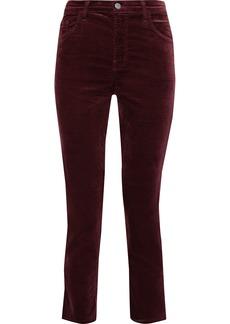 J Brand Woman Ruby Cropped Cotton-blend Velvet Slim-leg Pants Burgundy