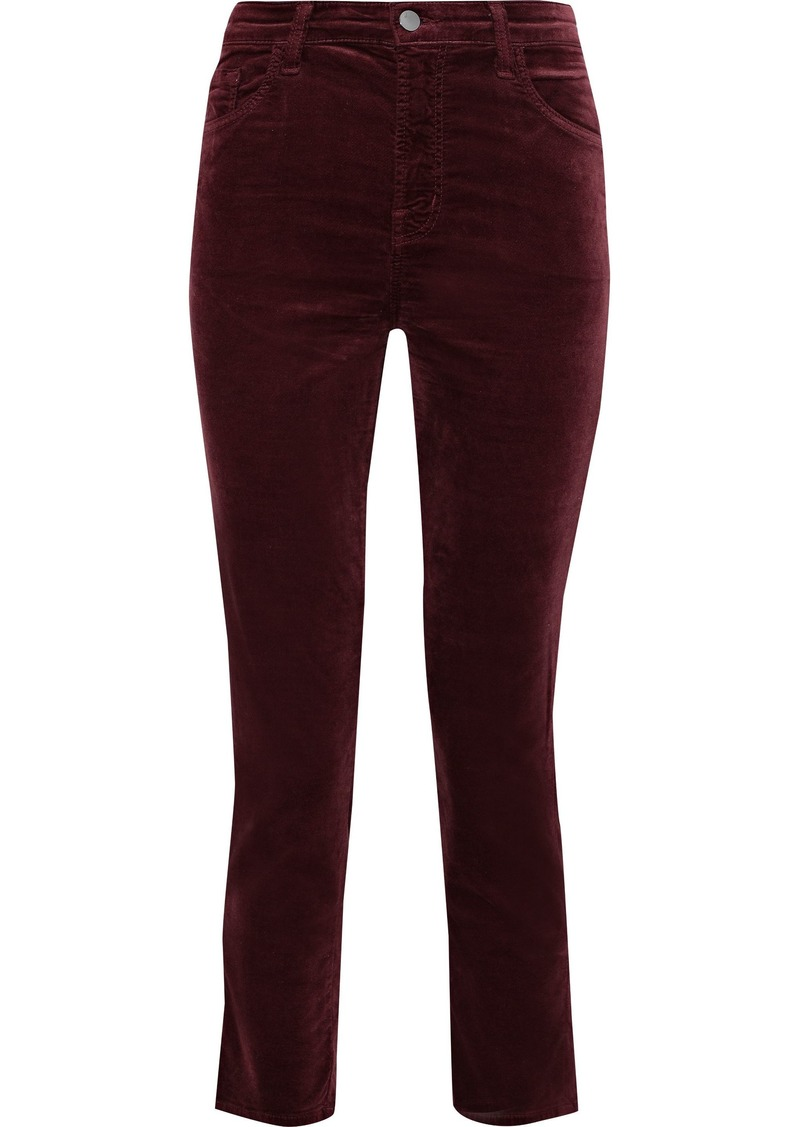J Brand Woman Ruby Cropped Cotton-blend Velvet Slim-leg Pants Burgundy