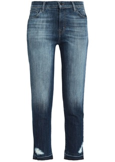J Brand Woman Ruby Cropped Distressed High-rise Slim-leg Jeans Dark Denim